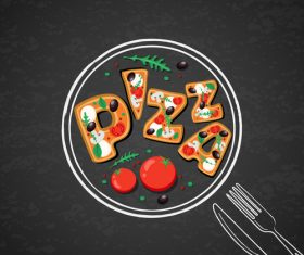 Italian pizza backgorund vector design 02