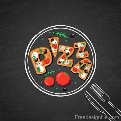 Italian pizza backgorund vector design 02