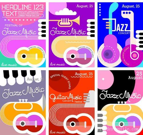 Jazz music festival poster template vector