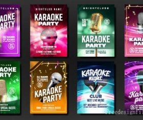 Karaoke party flyer with brochure cover vector