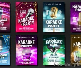 Karaoke party poster with flyer template vectors