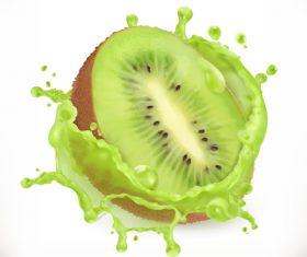Kiwi fruit juice splash vector illustration