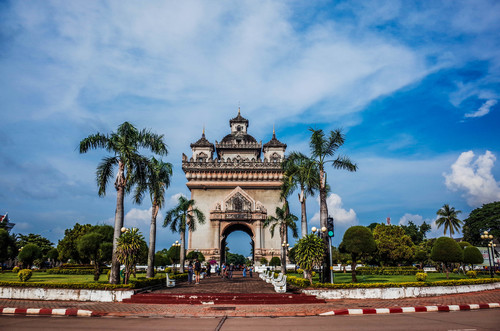 Laos city architecture Stock Photo