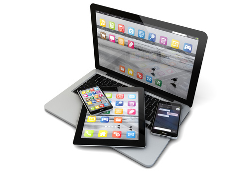 Laptop smartphones and tablet Stock Photo