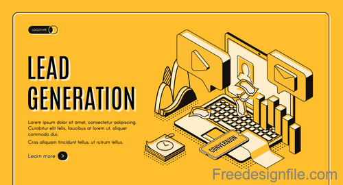 Lead generation isometric template design vector