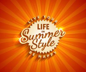 Life in summer style logo design vector