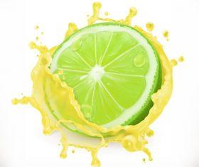Lime juice splash vector illustration