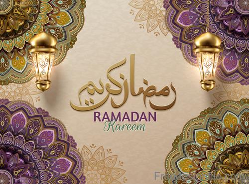 Luxury ornate ramadan kareem festival design vector 05