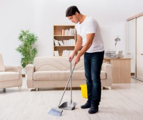 Man doing housework cleaning Stock Photo 01