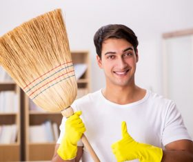 Man doing housework cleaning Stock Photo 02