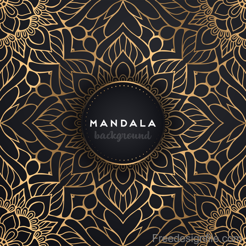 Mandala background with golden seamless pattern vector