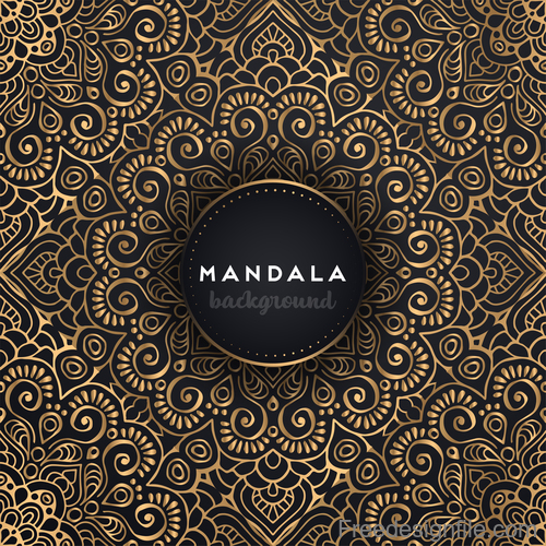 Mandala background with golden seamless pattern vector 02