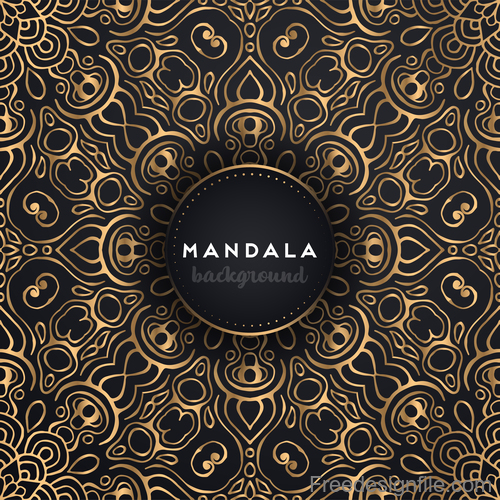 Mandala background with golden seamless pattern vector 04