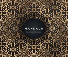 Mandala background with golden seamless pattern vector 08