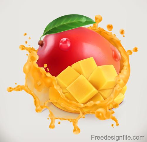Mango juice splash vector illustration
