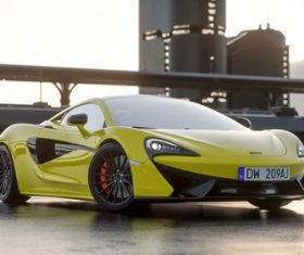 McLaren yellow supercars Stock Photo 01