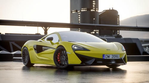 McLaren yellow supercars Stock Photo 01