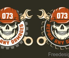 Mechanical repair labels design vector 02