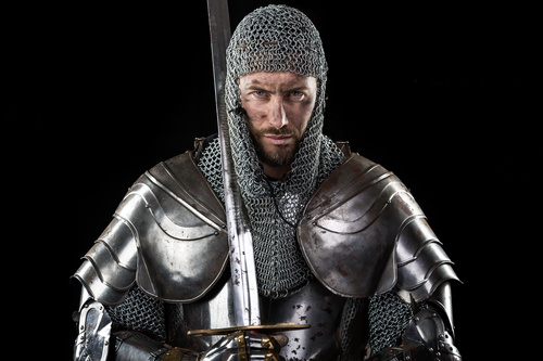 Medieval knight wearing armor Stock Photo 01
