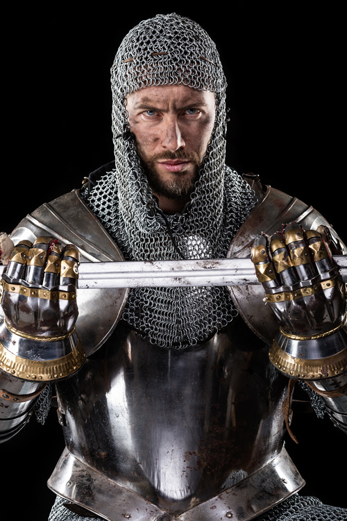 Medieval knight wearing armor Stock Photo 03