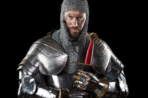 Medieval knight wearing armor Stock Photo 05