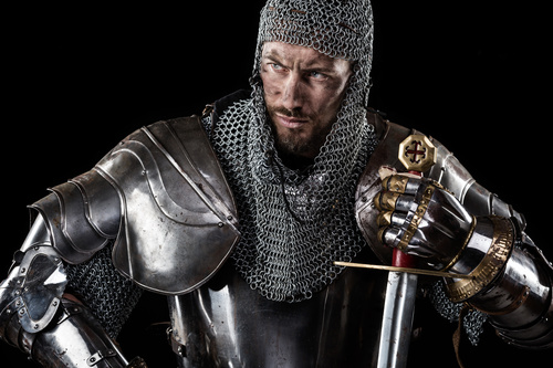 Medieval knight wearing armor Stock Photo 06