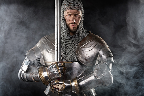 Medieval knight wearing armor Stock Photo 07