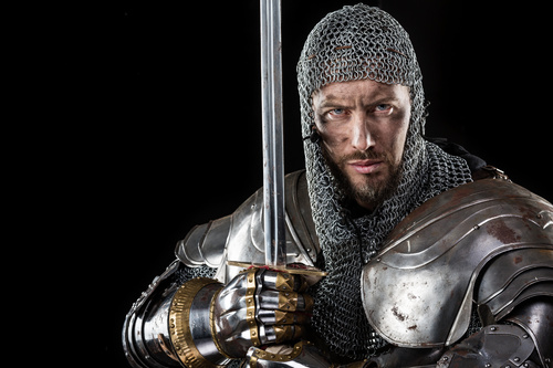Medieval knight wearing armor Stock Photo 09