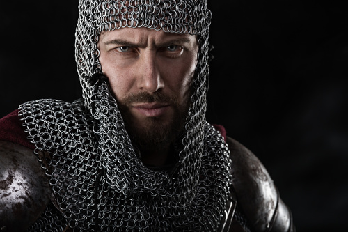 Medieval knight wearing armor Stock Photo 10