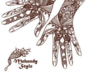 Mehendy styles vintage decorative design vector
