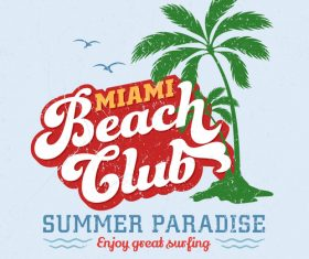 Miami Beach Club Logo design vector