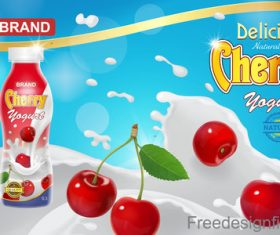 Milk Splash Cherry drinking design vector