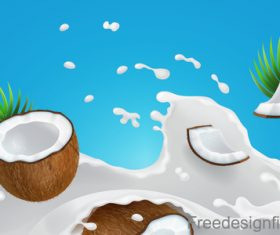 Milk Splash Coconut design vector