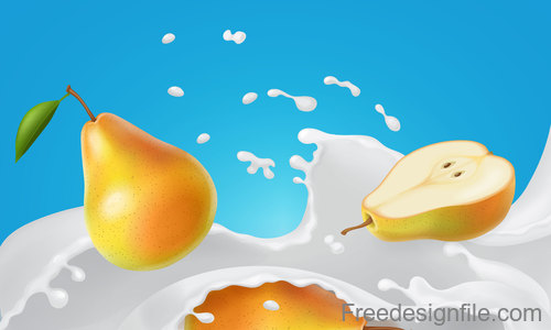 Milk Splash Pear design vector