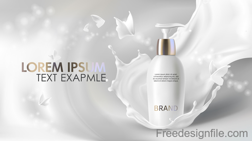 Milk with cosmetics poster template vector