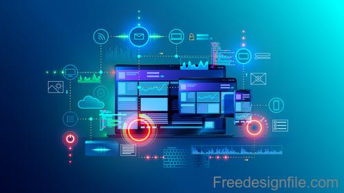 Mobile application development design vectors