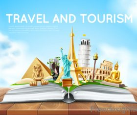 Modern travel design vector material 01
