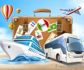 Modern travel design vector material 02