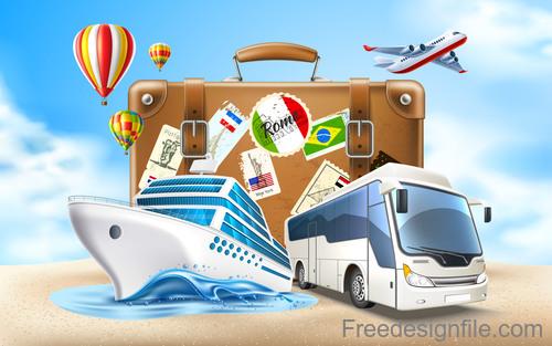 Modern travel design vector material 02
