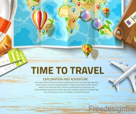 Modern travel design vector material 03