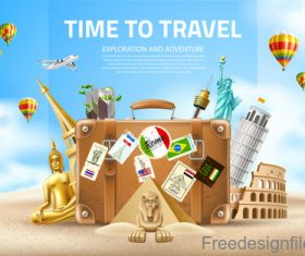 Modern travel design vector material 04