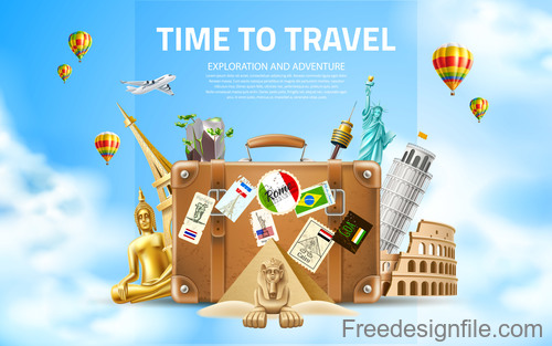Modern travel design vector material 05