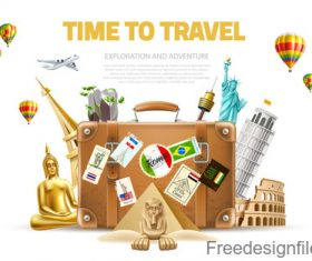 Modern travel design vector material 06