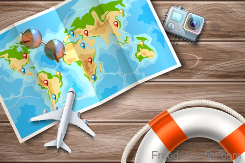 Modern travel design vector material 07