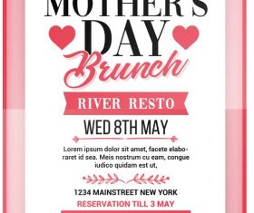 Mothers Day Brunch Flyer with poster PSD template