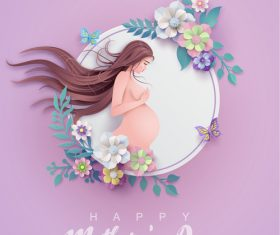 Mothers Day card and gravida design vector 01