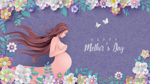 Mothers Day card and gravida design vector 02