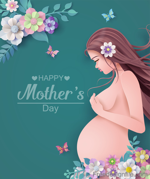 Mothers Day card and gravida design vector 03