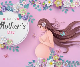 Mothers Day card and gravida design vector 04