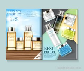 Natural cosmetic advertisement brochure page template vector 03